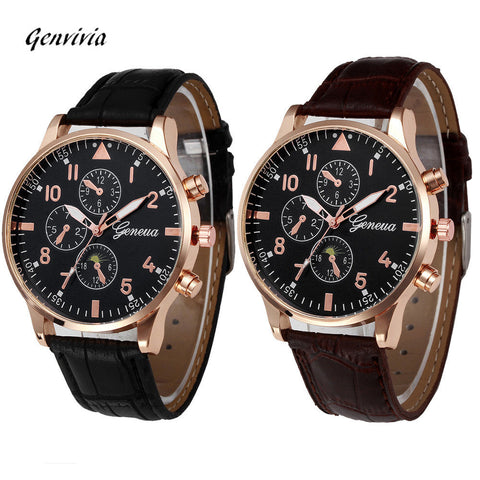 Retro Design Leather Band Analog Alloy Quartz Wrist Watch Mens