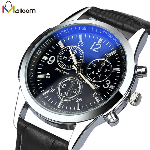Quartz Watch Luxury Fashion Faux Leather Mens Analog Watch Military Business