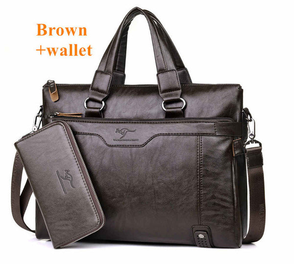 Men Casual Briefcase Business Shoulder Leather Messenger Computer Laptop Bag/Handbag