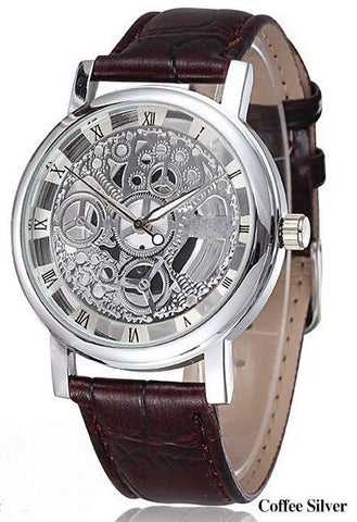 Quartz Kings Brand Hollow Gold & Silver Steel Business Watch Men Watch
