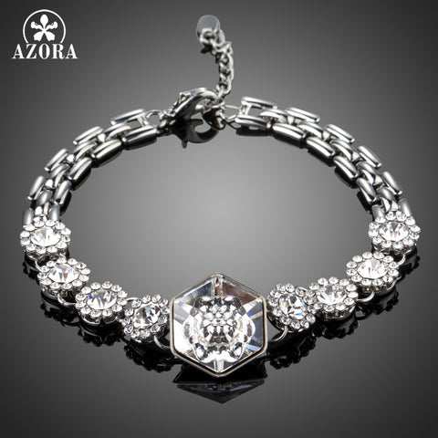 AZORA Silver Color Hexagon Stellux Austrian Crystal Connect with 8pcs Flowers Watch Chain Charm Bracelets
