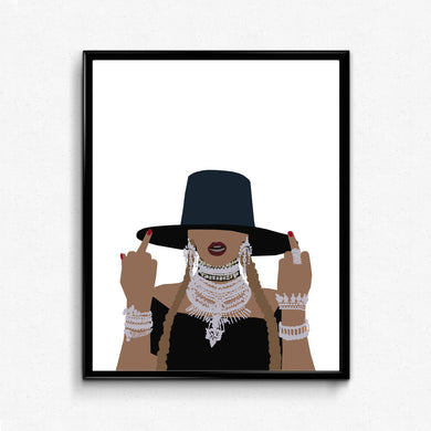 Beyonce Formation Poster, Bey Middle Finger- Feminist Print