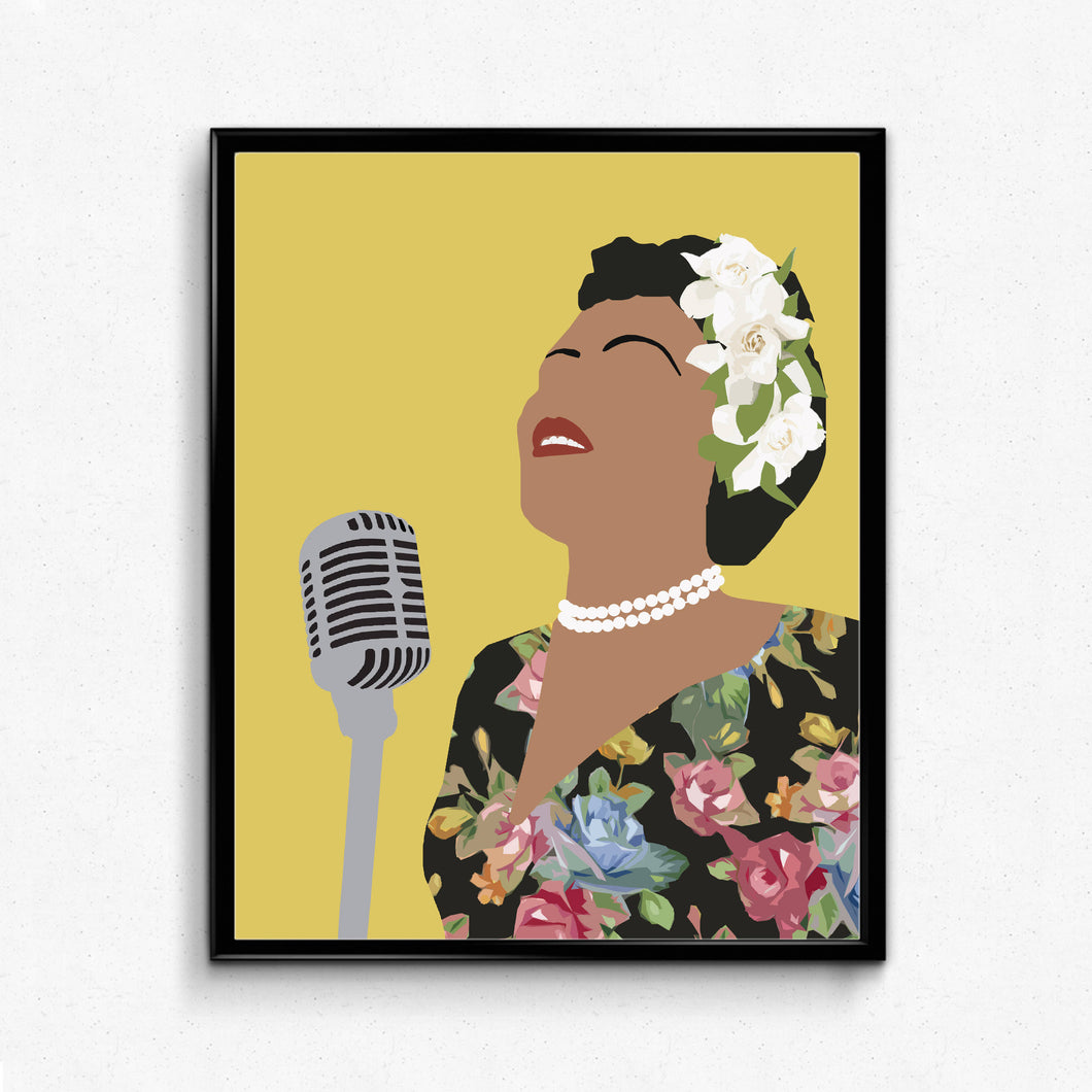 Billie Holliday Portrait, Minimalist Art Print, Feminist Art, Music Singer