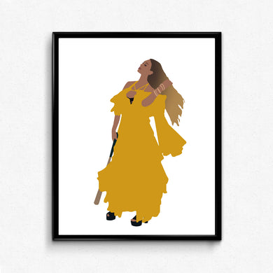 Beyonce Hold Up Poster- Yellow Dress, Lemonade Print, Minimalist Art, Queen Bey