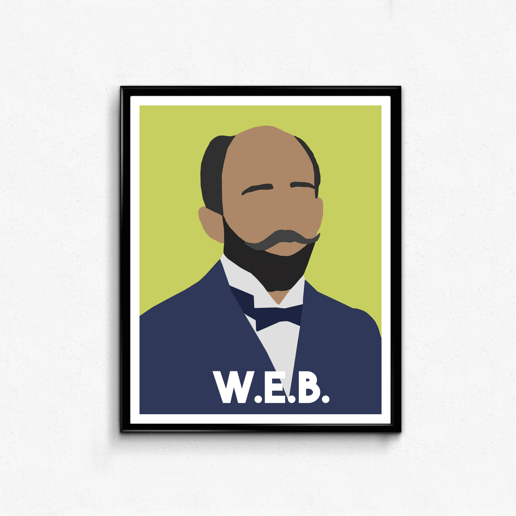 W.E.B. DuBois Minimalist Portrait- Icon, Remarkable Men, Wall Art Decor