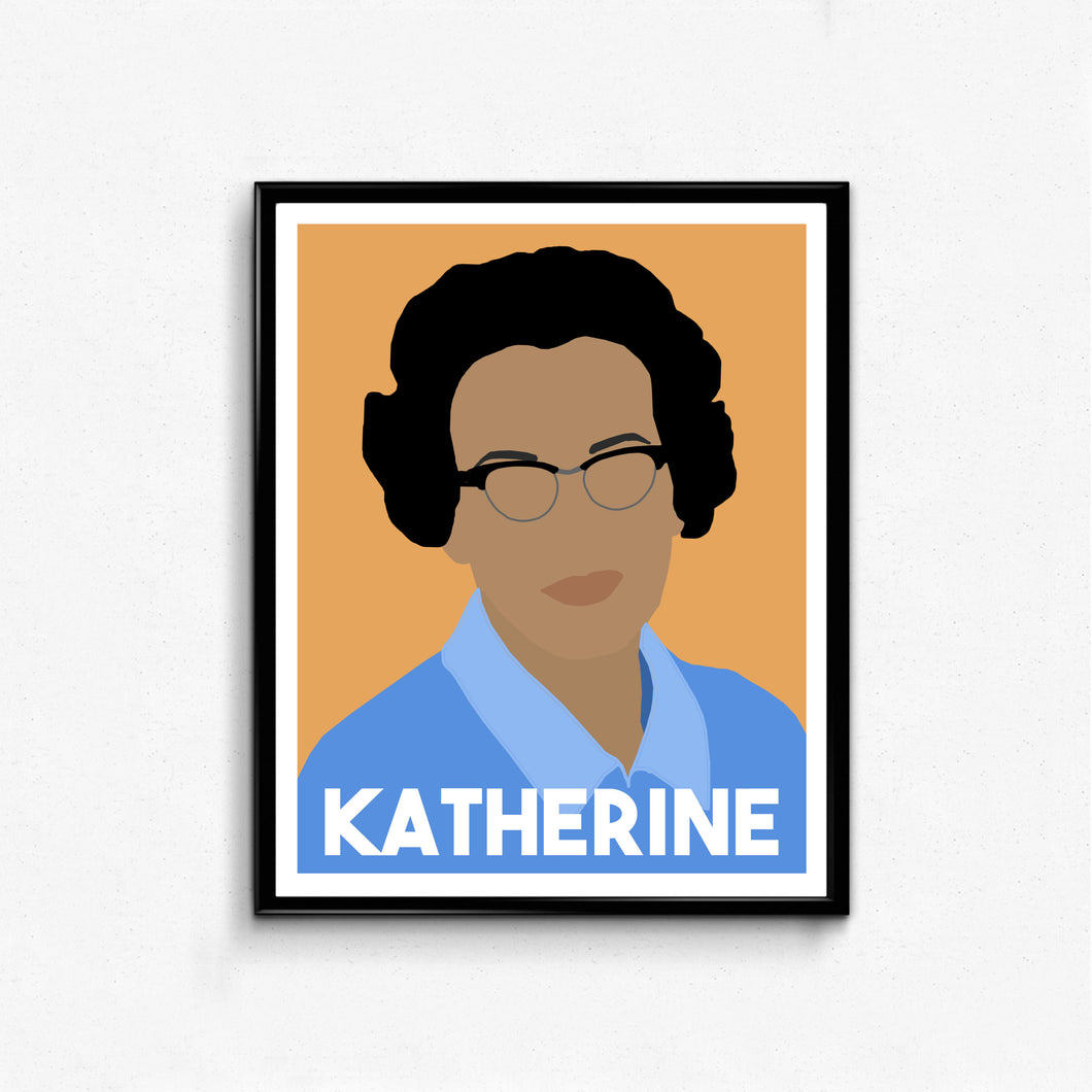 Katherine Johnson Feminist Icon Portrait- Hidden Figures, Wall Art Decor