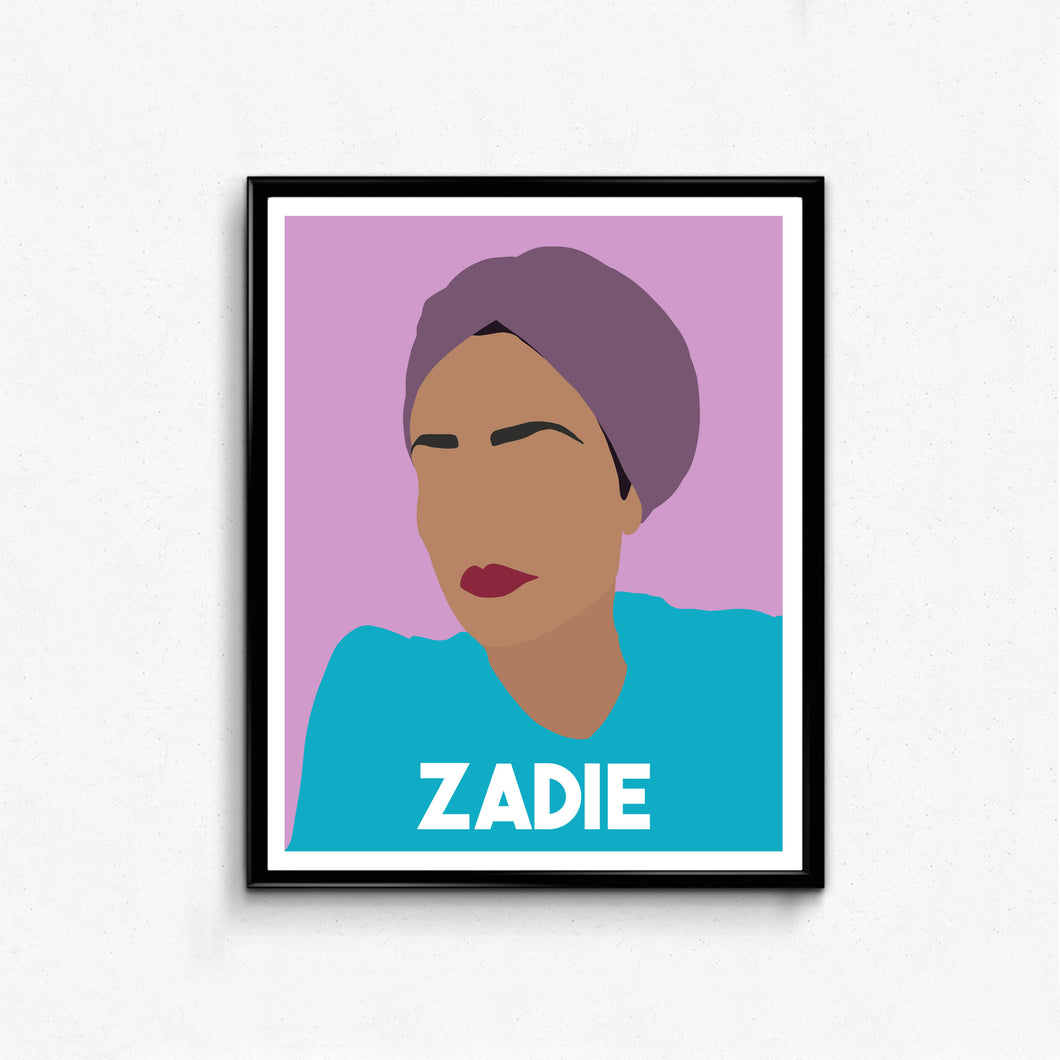 Zadie Smith Feminist Icon Portrait- Minimalist Feminist Art, Wall Art Decor