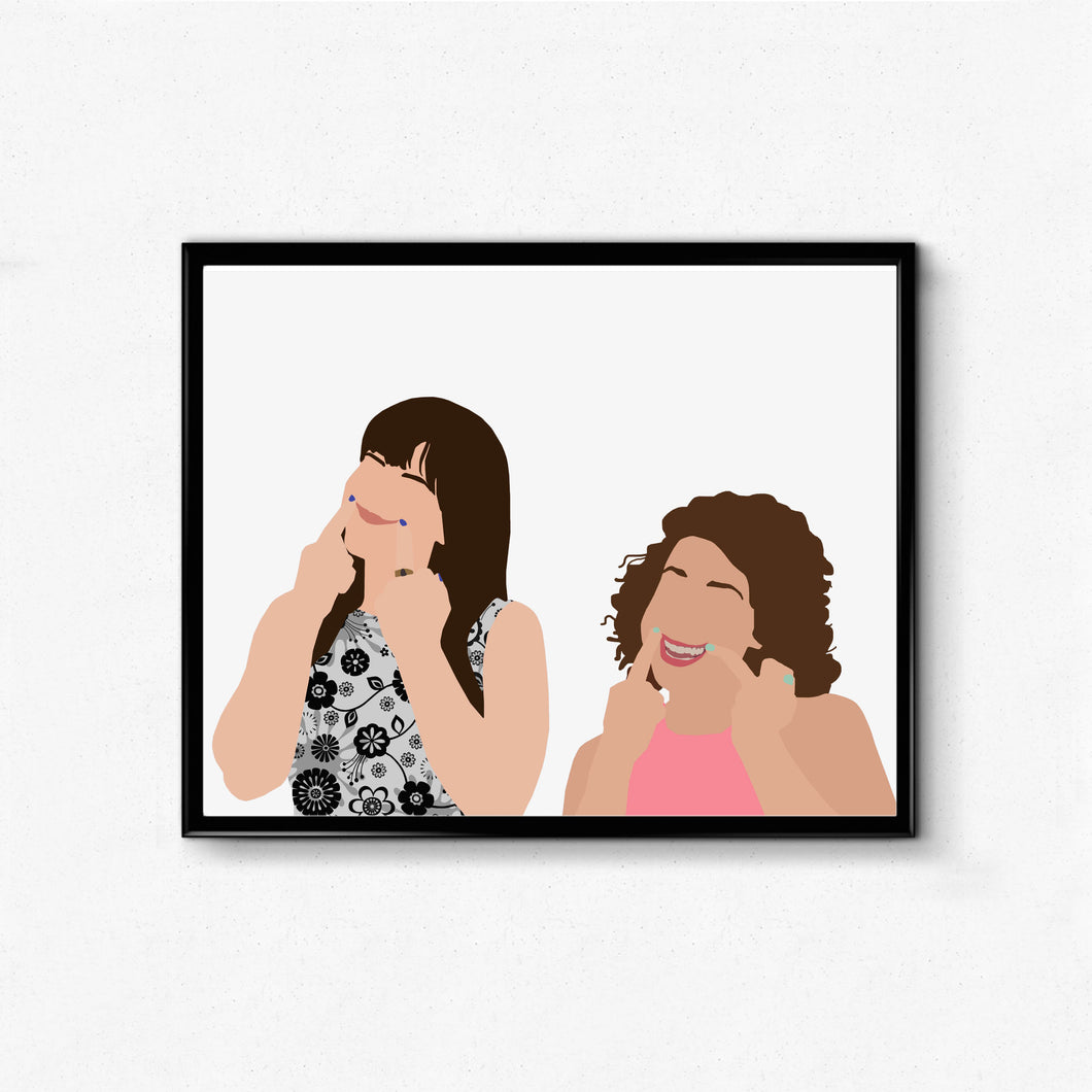 Broad City Minimalist TV Poster- Middle Fingers, Smile, Feminist Icon Art