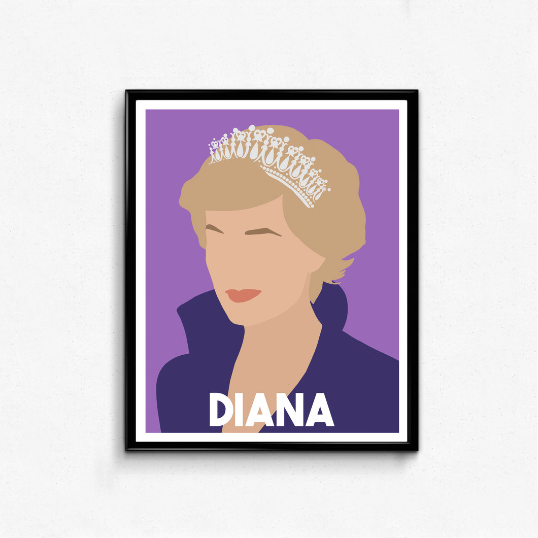 Princess Diana Minimalist Feminist Icon Portrait, Wall Art Decor