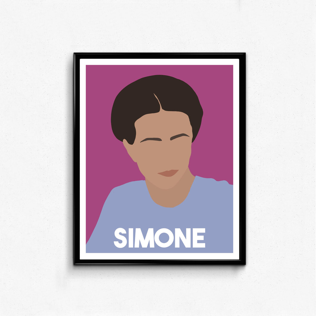 Simone De Beauvoir Minimalist Feminist Icon Portrait, Wall Art Decor Gift