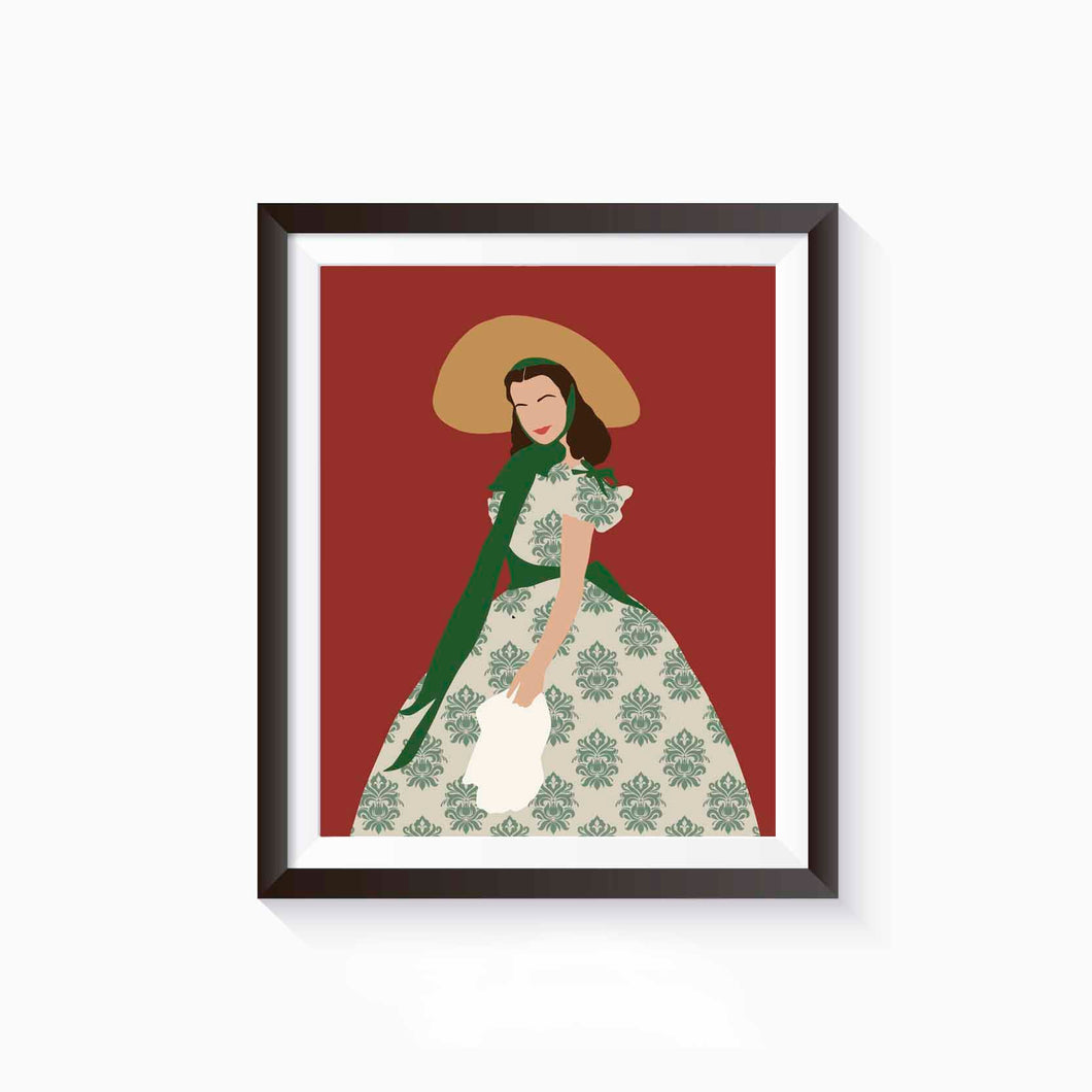 Scarlett O'Hara, Gone With the Wind, Literature Poster, Female Literary Characters, Minimalist Art, Gift for Book Lover, Wall Art Decor
