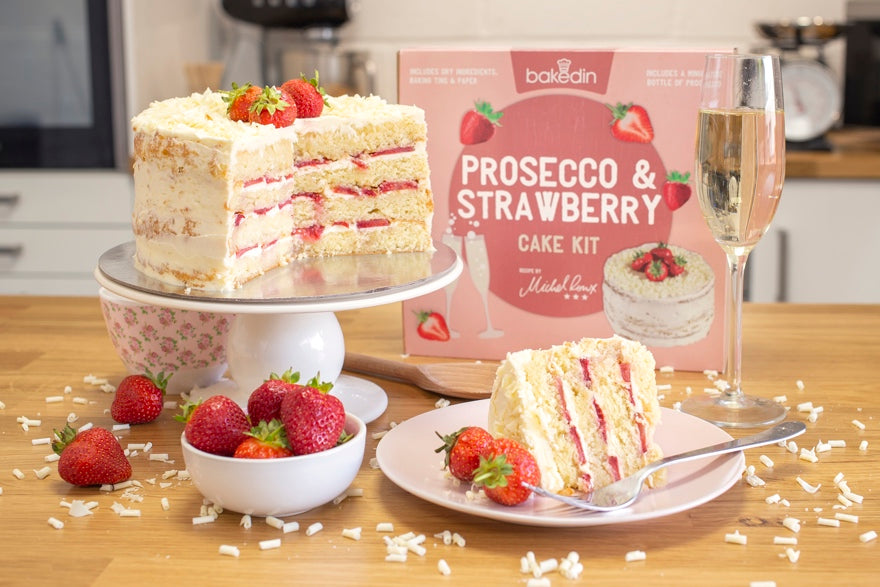 Bakedin DIY Wedding Cake Ideas Prosecco Strawberry Cake