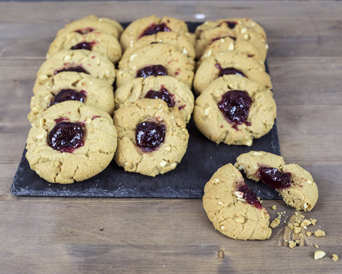 Peanut Butter and Jam Cookies ready to eat