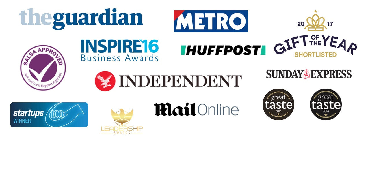featured in the gaurdian, independent, daily mail, huffington post, the metro, winners of 3 great taste awards, shortlisted for gift of the year, winner of the best startup entrepreneur and runner up for international business of the year at the inspire awards