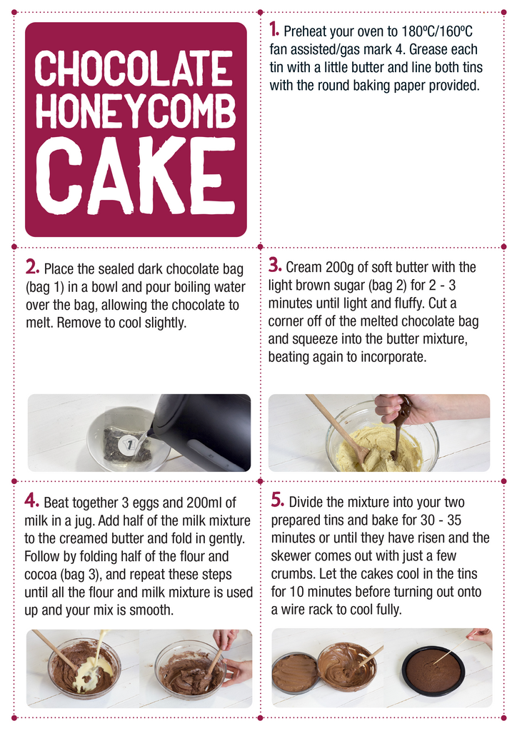 Bakedin Chocolate Honeycomb Cake Recipe Card
