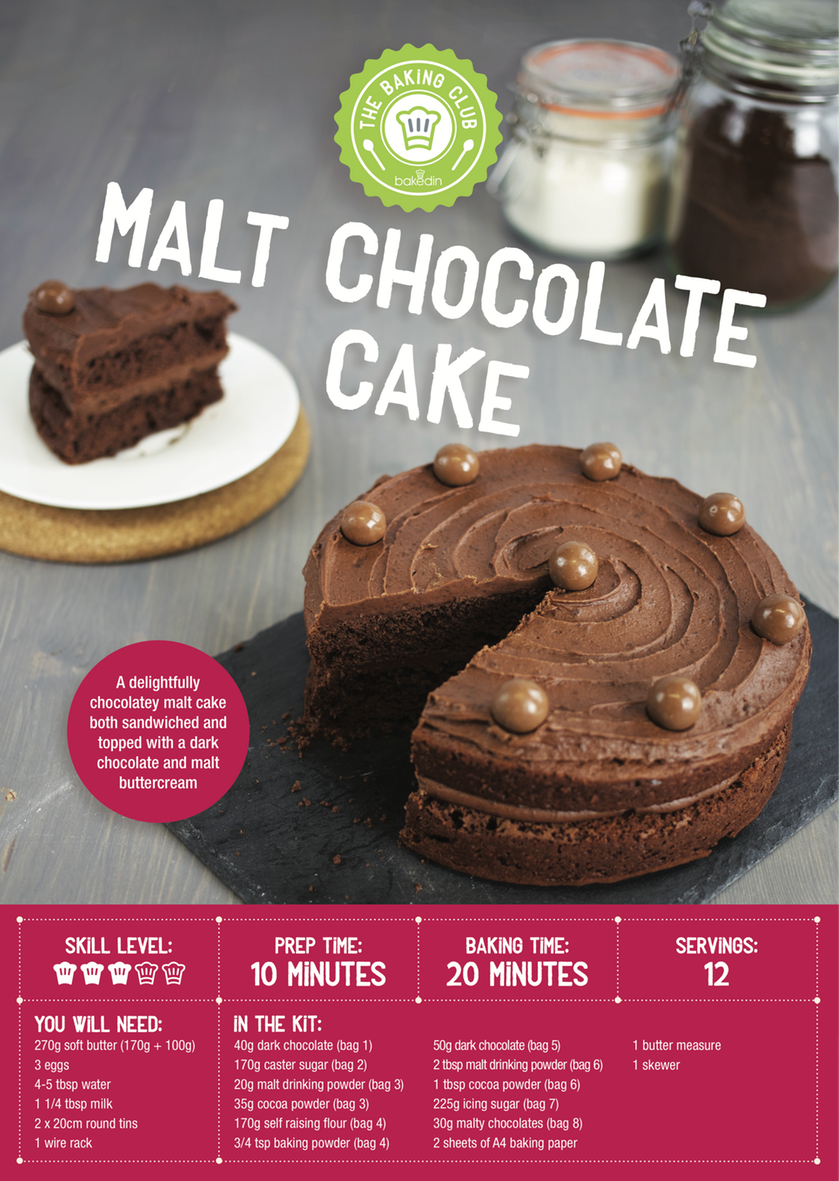 Bakedin Chocolate Malt Cake Recipe Card