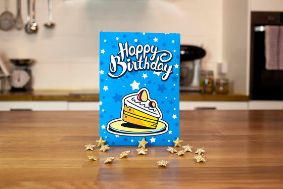 Chocolate Brownie Greeting Card (Blue Happy Birthday)