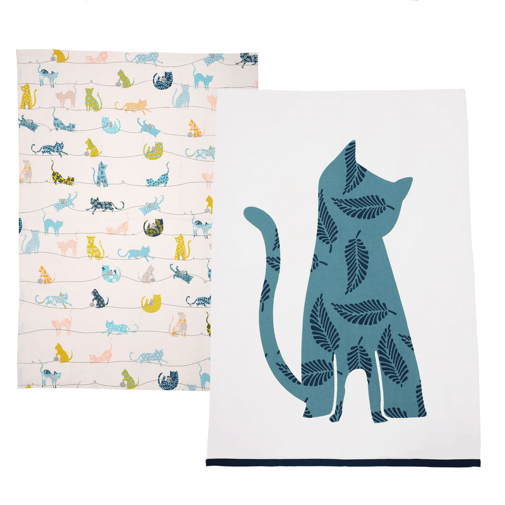 Curious Cats Tea Towels - Set of 2