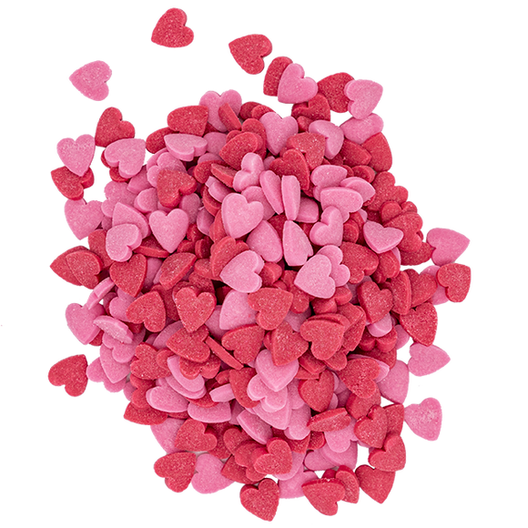 Pink & Red Heart Shaped Sprinkles 40g
