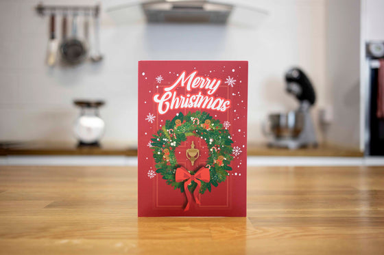 Gingerbread Mug Cake Christmas Card (Red)