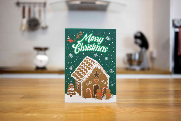 Gingerbread Mug Cake Christmas Card (Green)