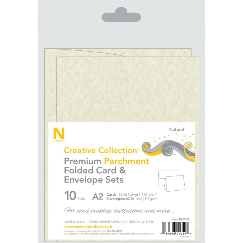 Neenah - A2 Heavy Weight Cards/Envelopes 10/Pkg - Natural Parchment