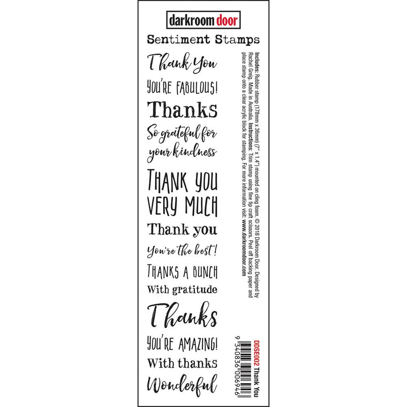 Darkroom Door - Thank You Sentiment Stamps - Red Rubber Cling Stamp