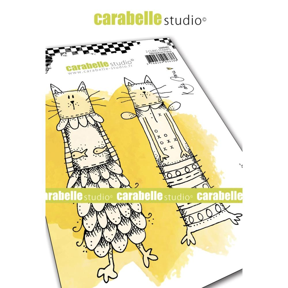 Carabelle Studio - Rubber Cling Stamp Set A6 - Kooky Cats - Kate Crane
