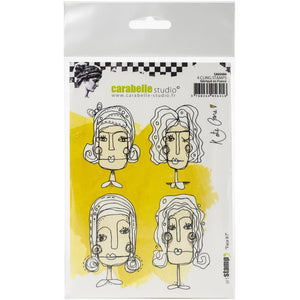 Carabelle Studio - Rubber Cling Stamp Set A6 - Face It - Kate Crane