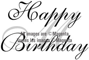 Magenta - Happy Birthday - Rubber Cling Stamp