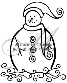 Magenta - Chubby Snowman - Rubber Cling Stamp