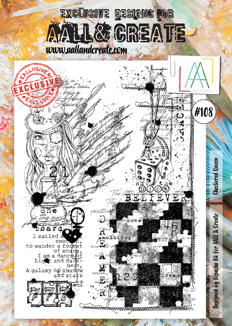 AALL & Create - Clear Stamp Set - #108 - A4 - Checkered Queen