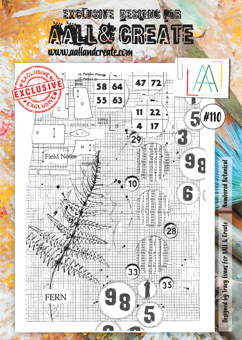 AALL & Create - Clear Stamp Set - #110 - A4 - Numbered Botanical