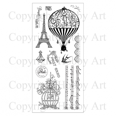 Hobby Art Stamps - Clear Polymer Stamp Set - Vintage