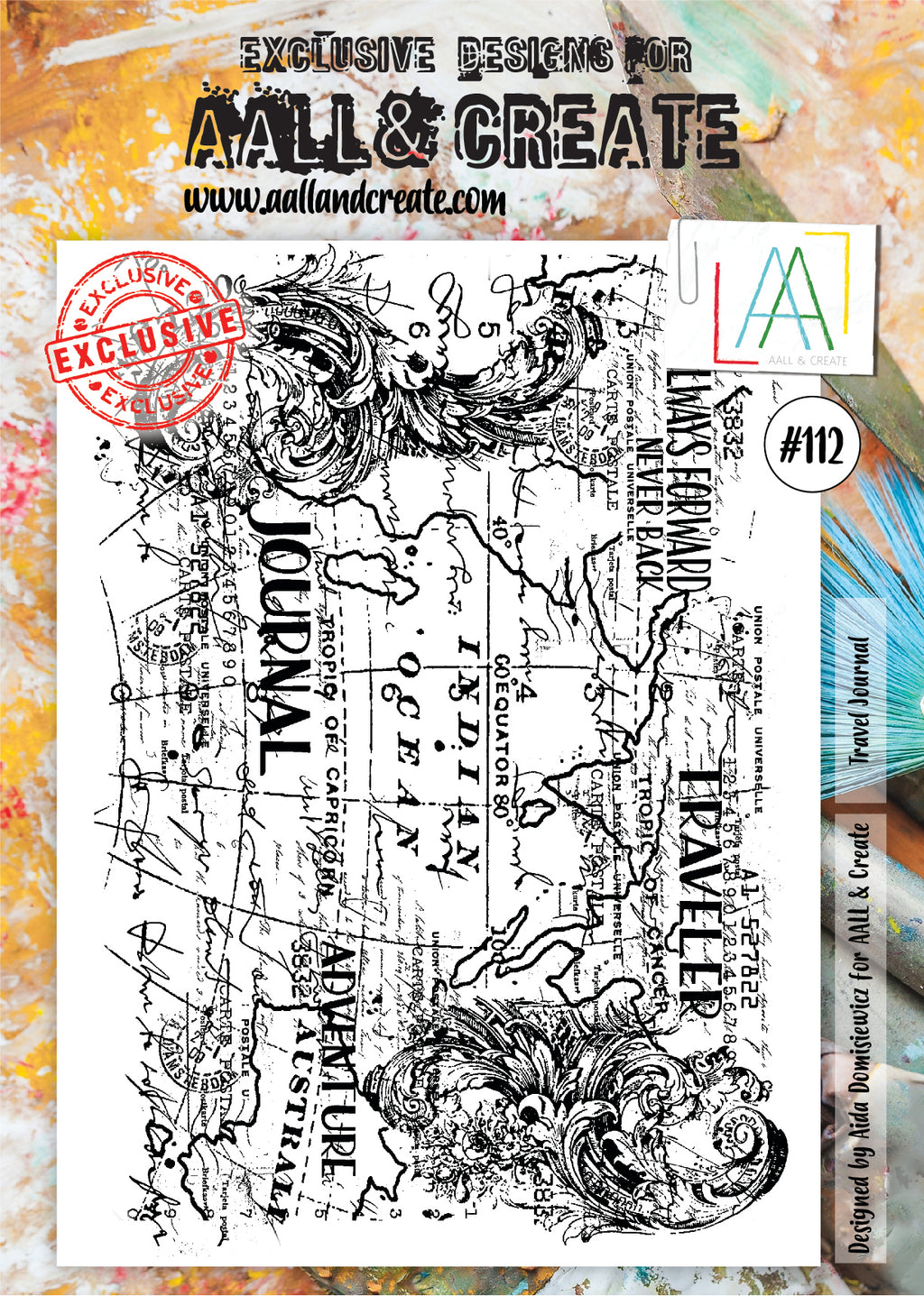 AALL & Create - Clear Stamp Set - #112 - A4 - Travel Journal Background