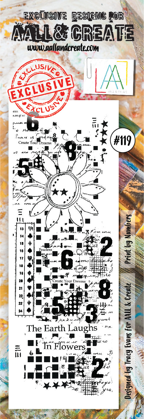 AALL & Create - Clear Border Stamp - #119 - Flower & Numbers