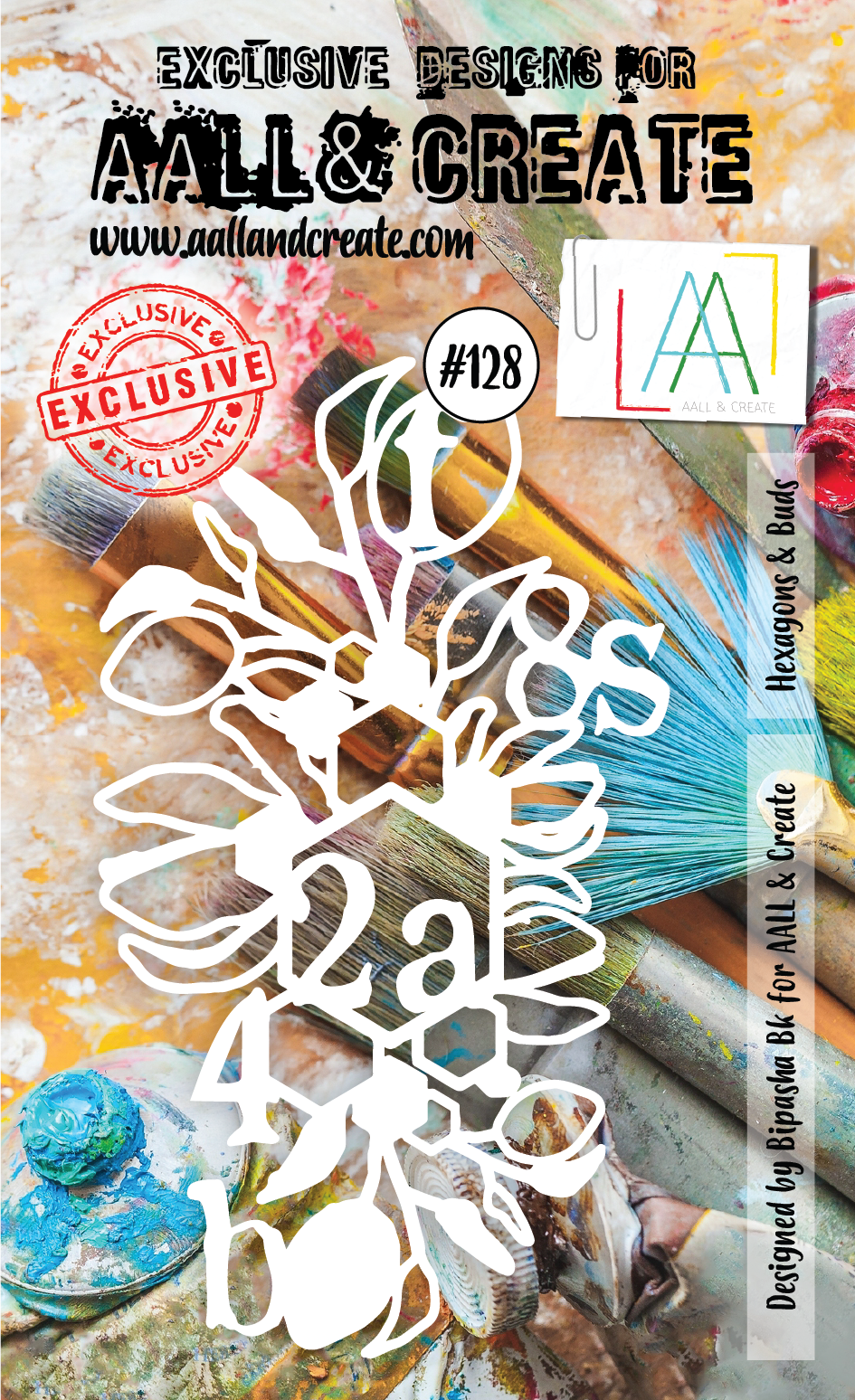 AALL & Create - Stencil - A6 - #128 - Hexagons & Buds