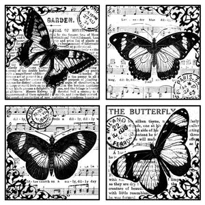 Crafty Individuals - Unmounted Rubber Stamp - Four Beautiful Butterflies