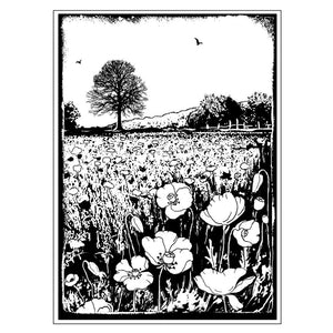 Crafty Individuals - Unmounted Rubber Stamp - 276 - Summer Poppy Meadow