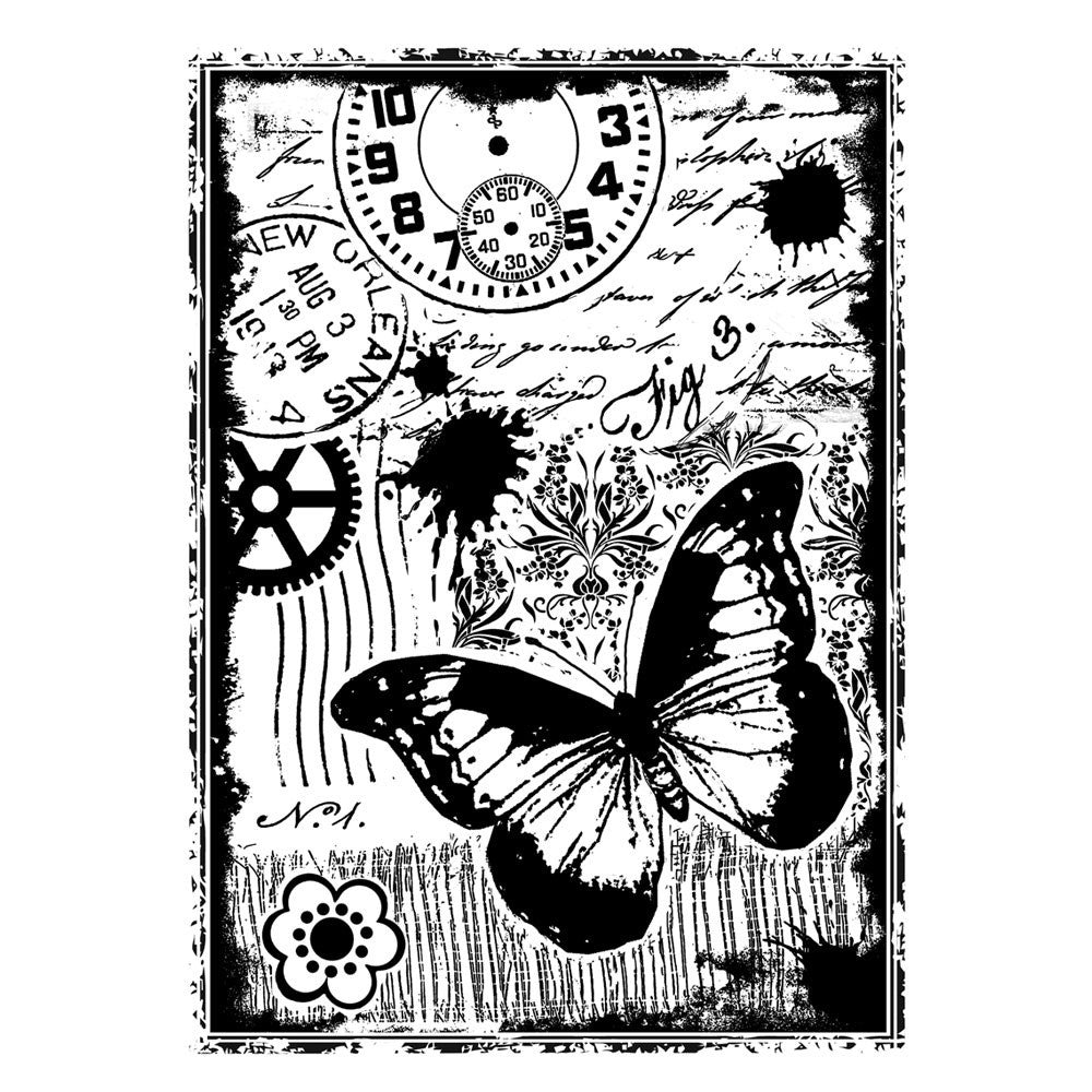 Crafty Individuals - Unmounted Rubber Stamp - 296 - Steampunk Butterfly