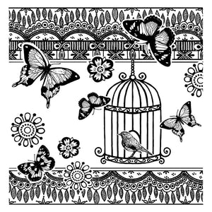 Crafty Individuals - Unmounted Rubber Stamp - 301 - Bird and Butterflies