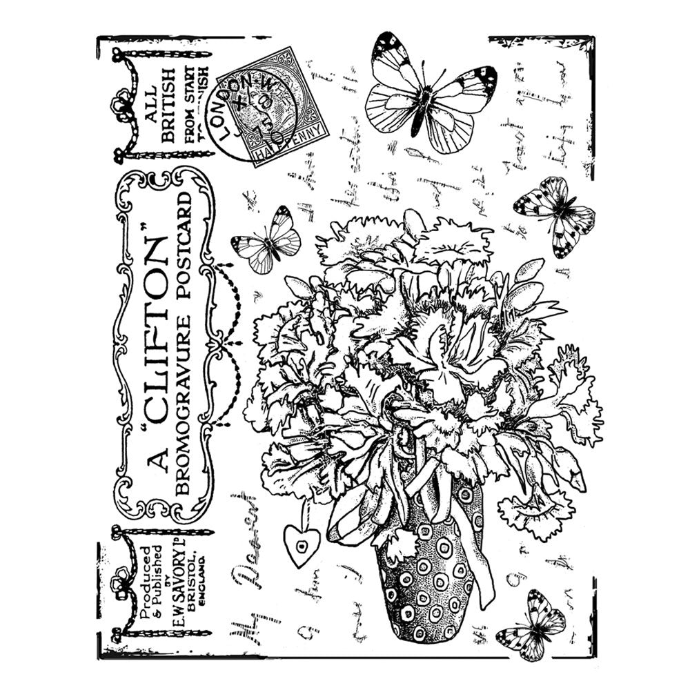 Crafty Individuals - Unmounted Rubber Stamp - 337 - Butterfly Bouquet