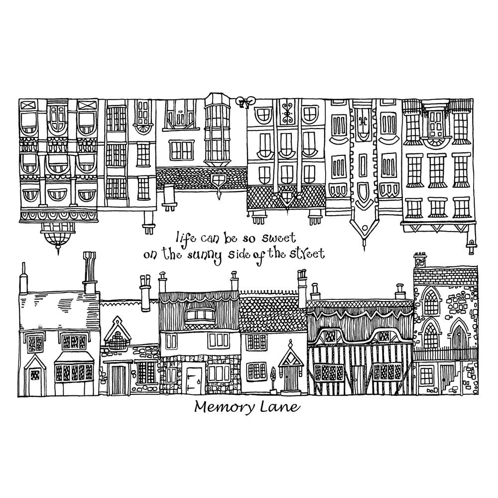 Crafty Individuals - Unmounted Rubber Stamp - 274 - Memory Lane Houses