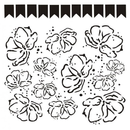 13@rts - 6x6 - Stencil - Poppies & Banners - Aida Domisiewicz