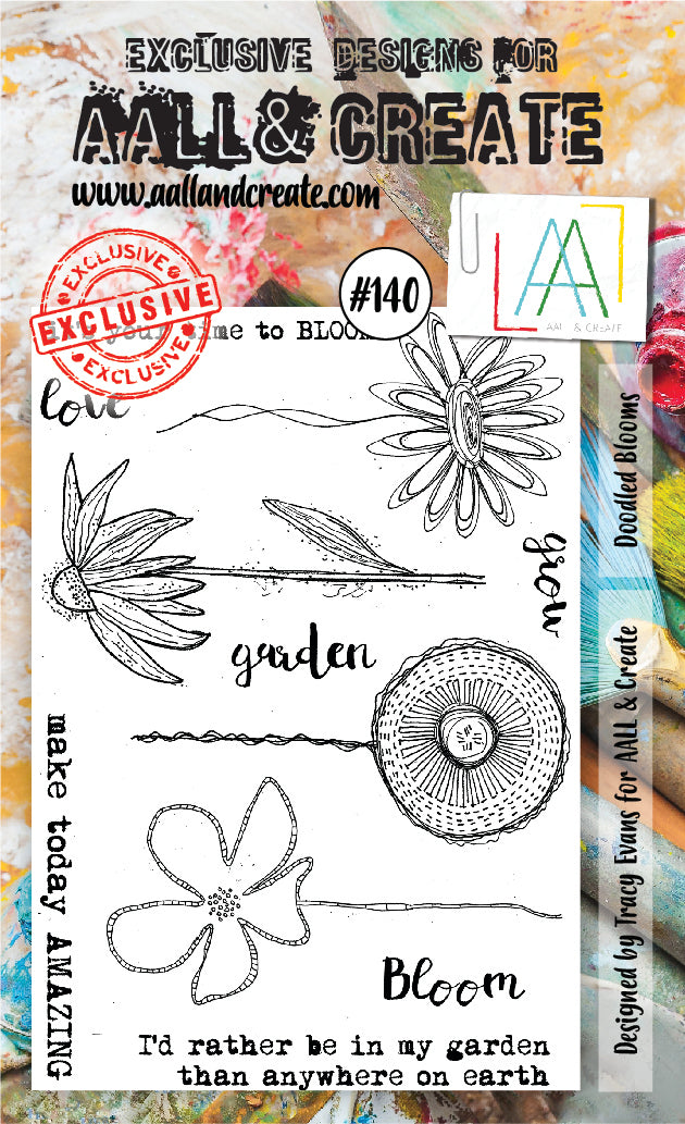 AALL & Create - Clear Stamp Set - #140 - A6 - Doodled Blooms