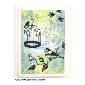 Crafty Individuals - Unmounted Rubber Stamp - 248 - Patchwork Birds and Flowers