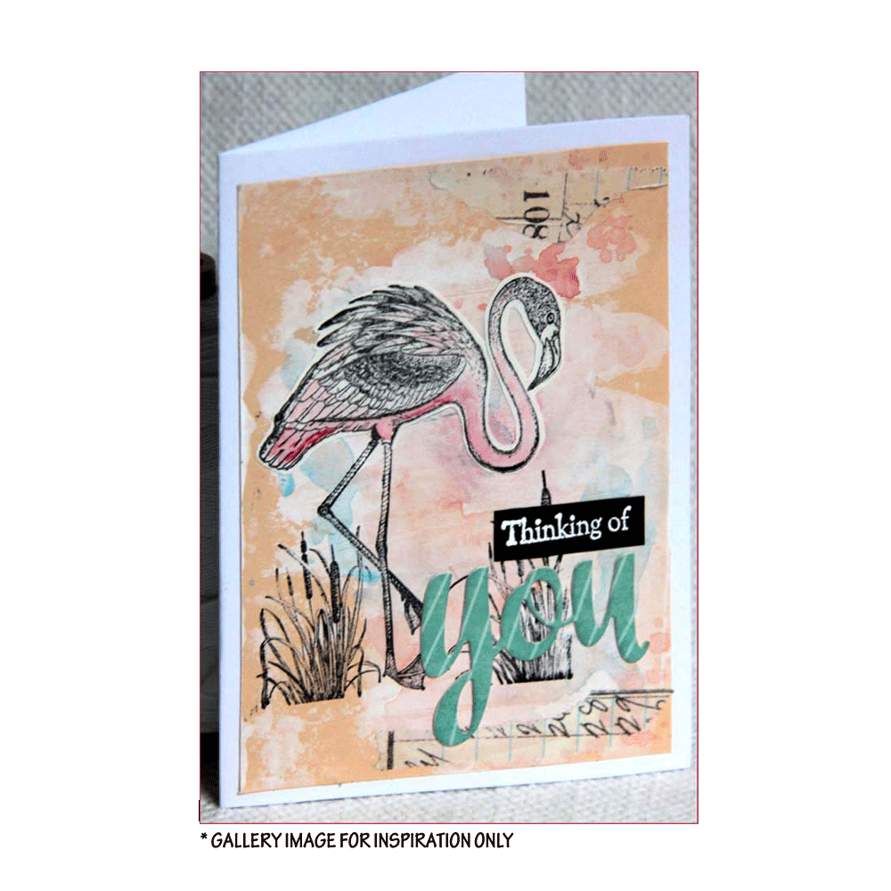 Crafty Individuals - Unmounted Rubber Stamp - 473 - Pretty Flamingos
