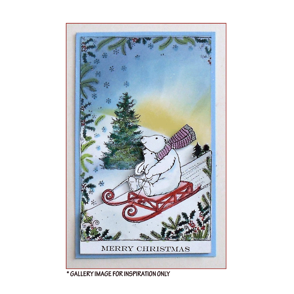 Crafty Individuals - Unmounted Rubber Stamp - 484 - Christmas Sledding Fun Bear