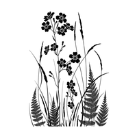 Crafty Individuals - Unmounted Rubber Stamp - 493 - Wild Flowers and Ferns Silhouette
