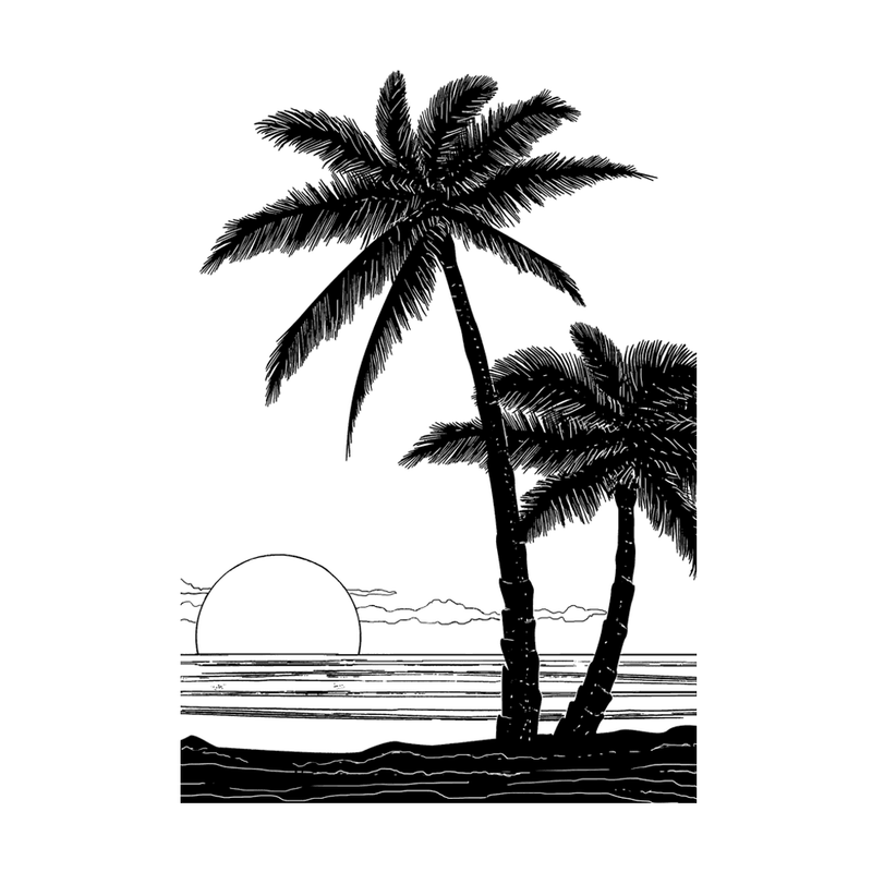 Crafty Individuals - Unmounted Rubber Stamp - 497 - Tropical Sunset